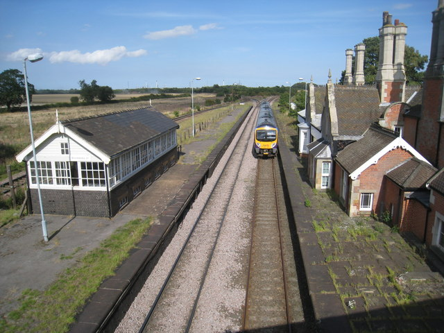 A Cleethorpes to Manchester Airport Train passes through the former Brocklesby Station