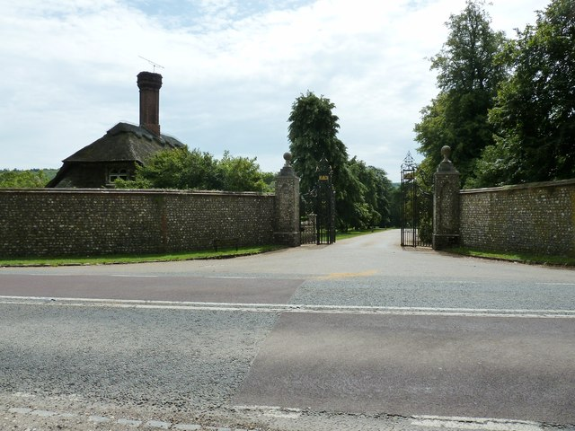 Ornamental gates at entrance to West Dean College