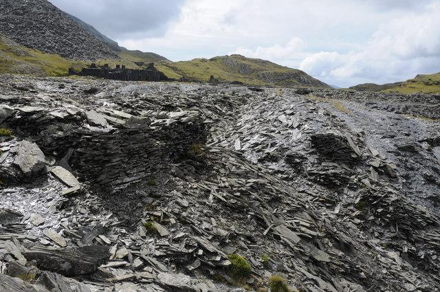 Slate spoil at Rhosydd Quarry