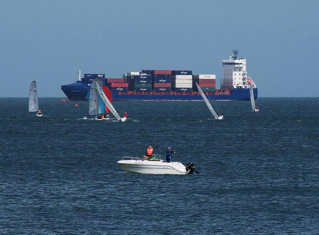 Yachts and ship in Bangor Bay