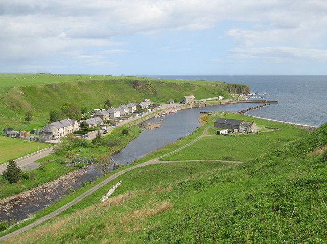 Dunbeath harbour and village