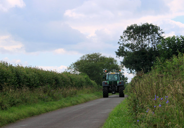 2011 : Tractor being driven along Brottons Road