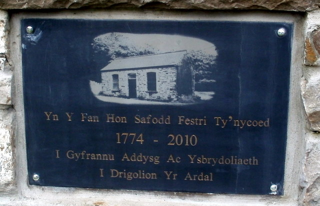 Plaque recording the site of the vestry for Capel Ty'nycoed, Ynyswen