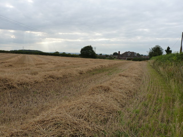 Wheat stubble and straw in fields south of Pattingham
