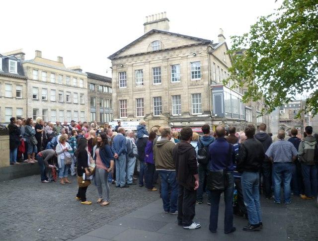 Festival go-ers in Hunter Square
