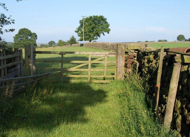 Gate on path near The Oatlands