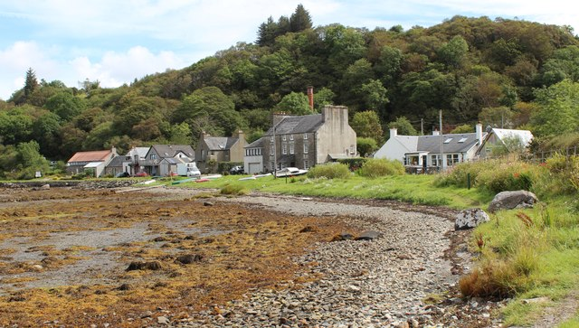 The houses of Crinan Harbour at low tide