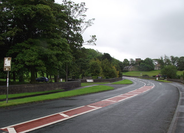 The A675 at the entrance to Hoghton Tower