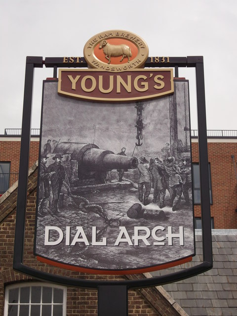 Dial Arch Pub Sign, Royal Arsenal, Woolwich