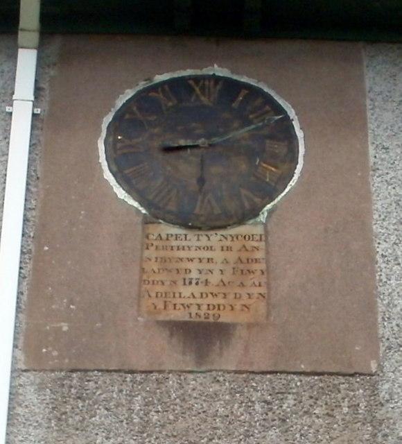 Inscription and old clock, Capel Ty'nycoed, Ynyswen