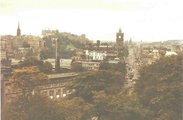 Princes Street from Calton Hill, Edinburgh in 1984
