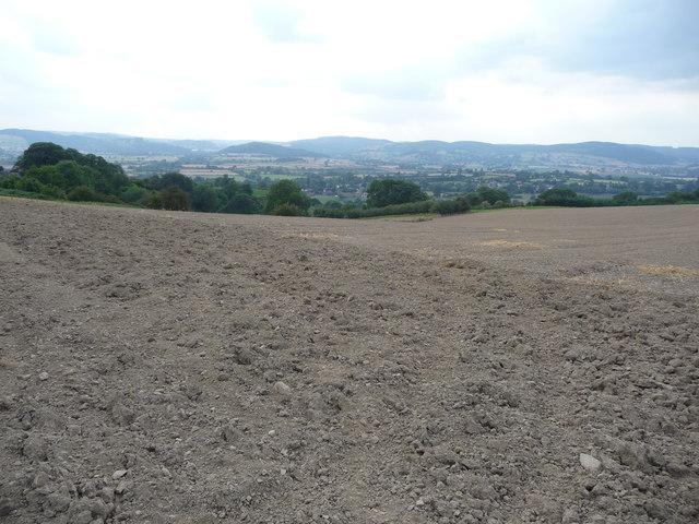 View over ploughsoil above Leintwardine