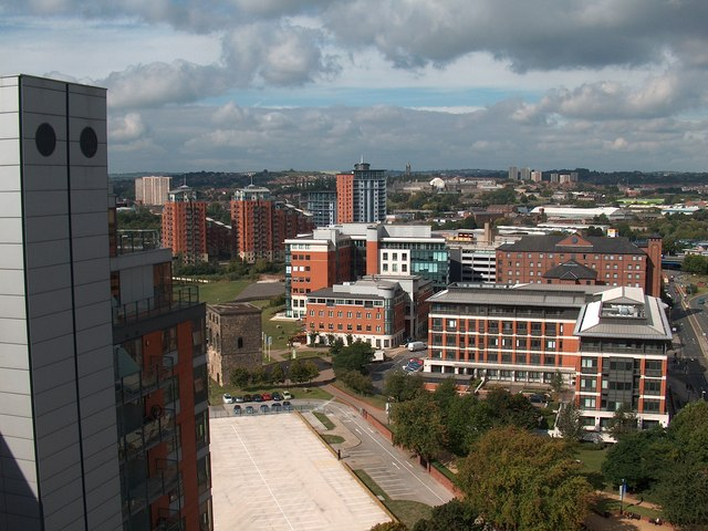 View westwards from the West Point apartment building, Leeds