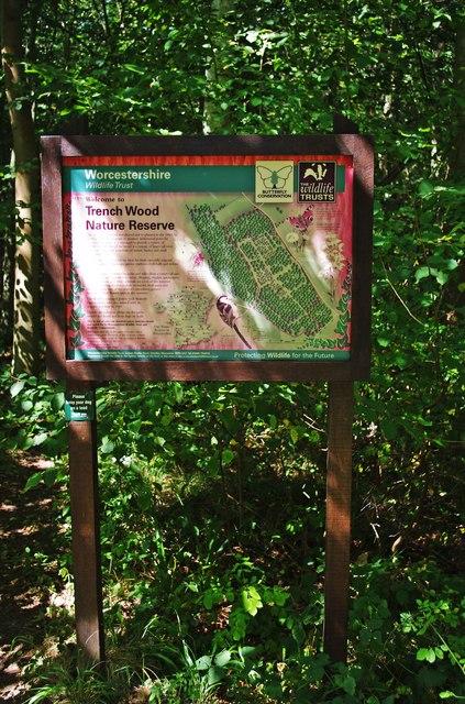 Information Board in Trench Wood, near Sale Green