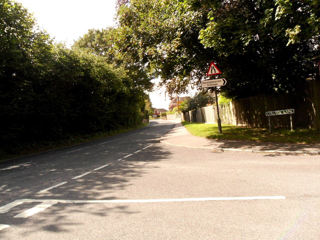 Road junction between College Lane and B2116 at Hurstpierpoint