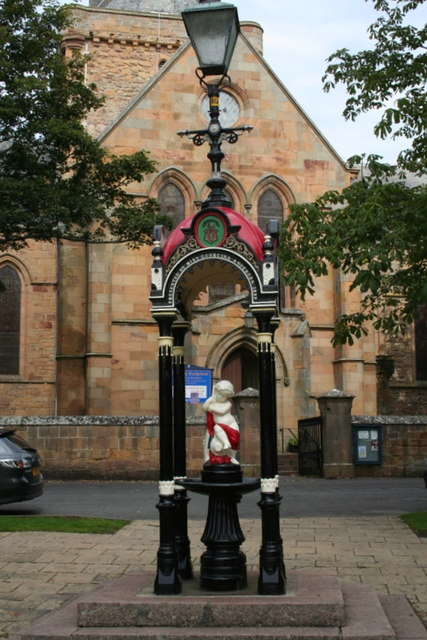 The fountain by Dornoch cathedral