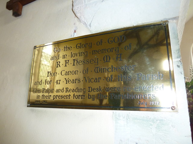 Plaque in St Stephen's Church - Up Nately (c)
