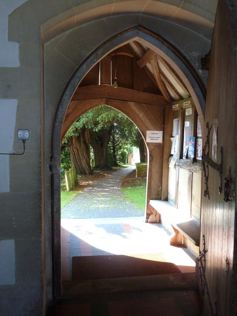 St. Mary, Bentley: looking out of the porch