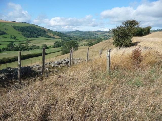 Waymarker on the Shropshire Way near Clun