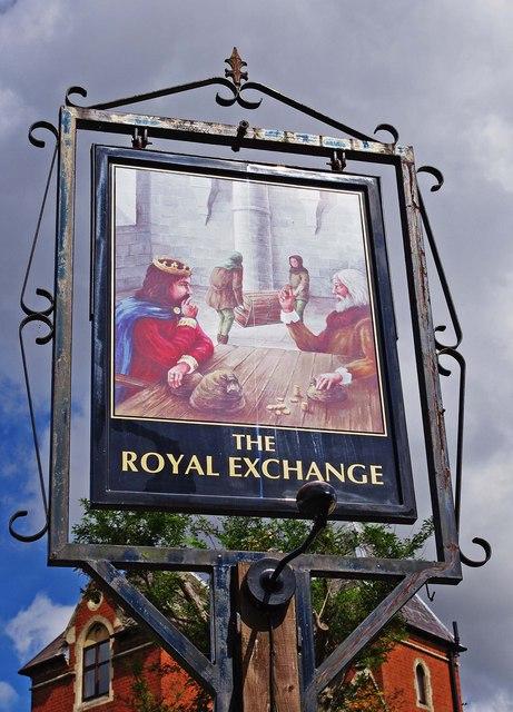 The Royal Exchange (2) - sign, High Street, Kinver