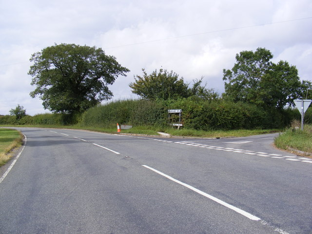 A1120 junction with Bedfield Road