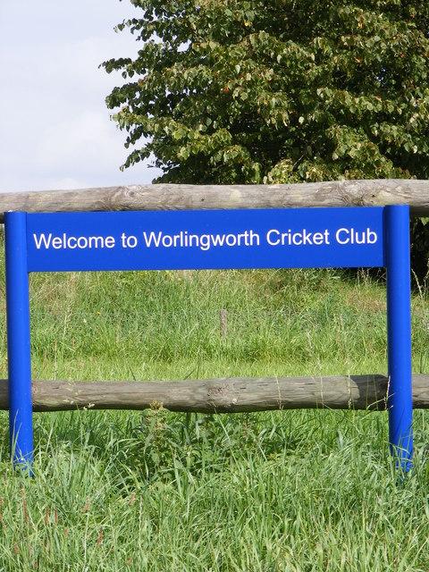 Worlingworth Cricket Club sign