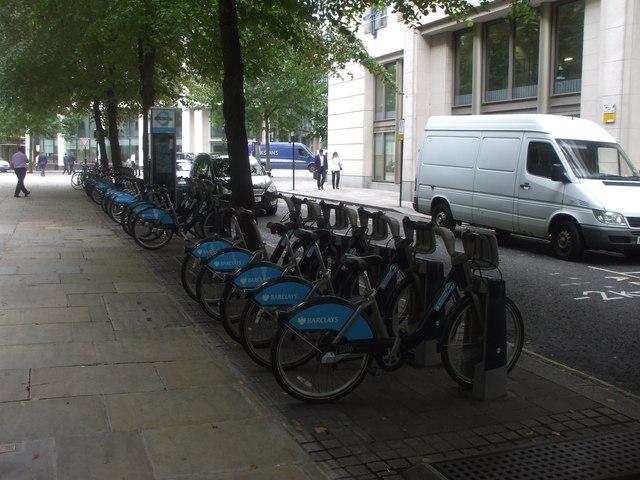 Boris bikes in Aldermanbury St, London