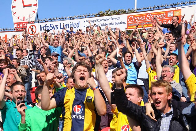 Happy fans in the County Ground