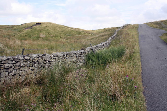 Wall and road at White Shaw Moss