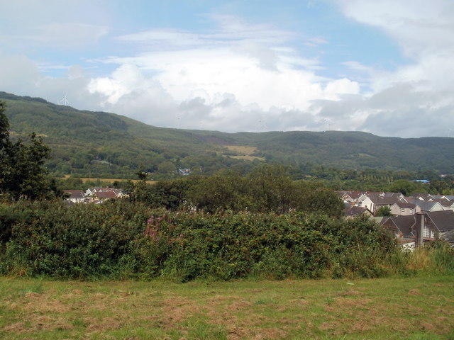 A view across Cwmgwrach, and the hills beyond, from Heol y graig