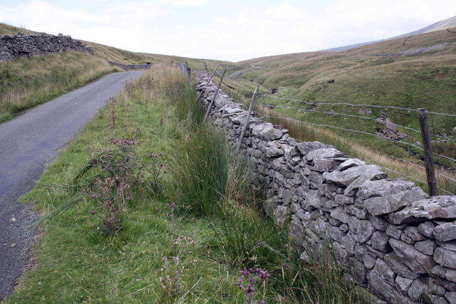 Road and dry stone wall at Birk Shaw