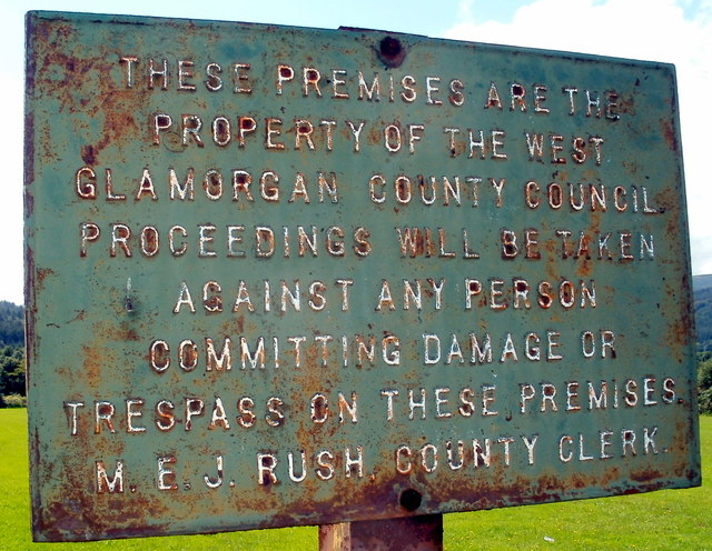 Old West Glamorgan County Council notice, Cwmgwrach