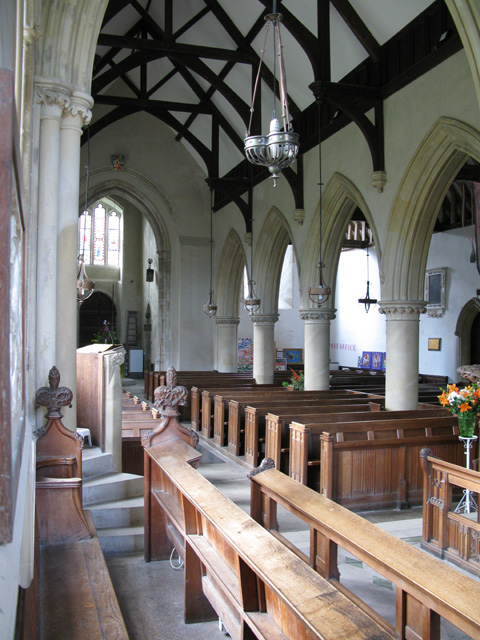 View of the interior of Holy Cross church