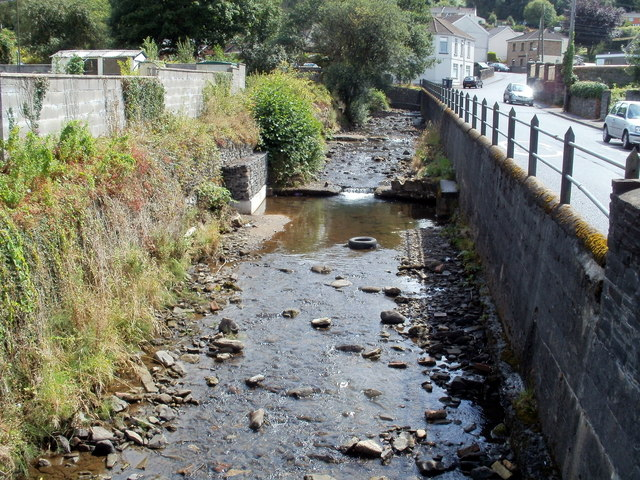 Nant Gwrach flows towards High Street, Cwmgwrach