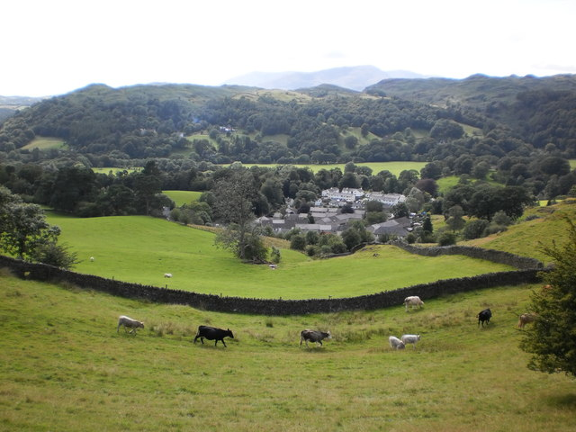 Ambleside and Loughrigg from Sweden Bridge Lane