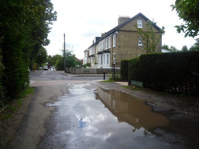 A rather large puddle in Clarence Road, Bickley
