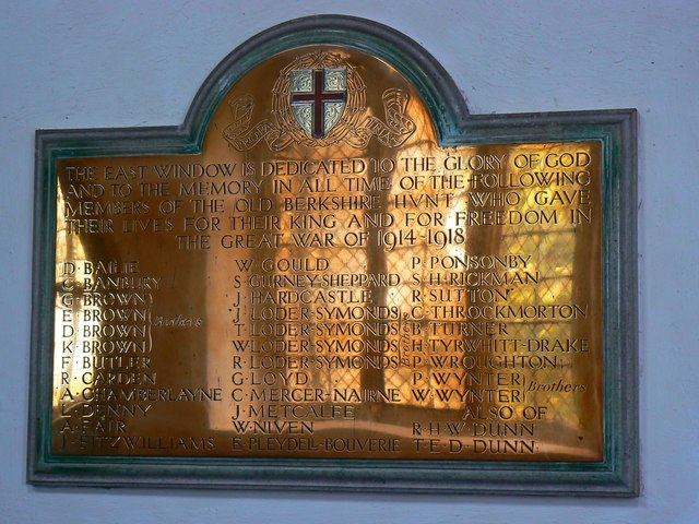 Brass commemorative plaque (1 of 2), St Mary's Church, Childrey