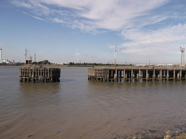 Disused Jetty near Warehouse in Erith Marshes