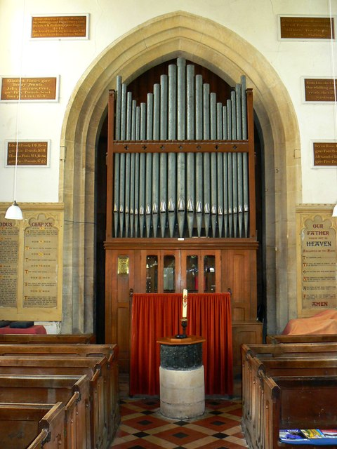 Font and organ, St Mary's Church, Childrey