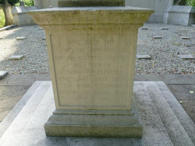 Inscription on the base of Deptford War Memorial