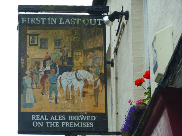 """Pub Sign - """"First In Last Out"""", Hastings Old Town"""