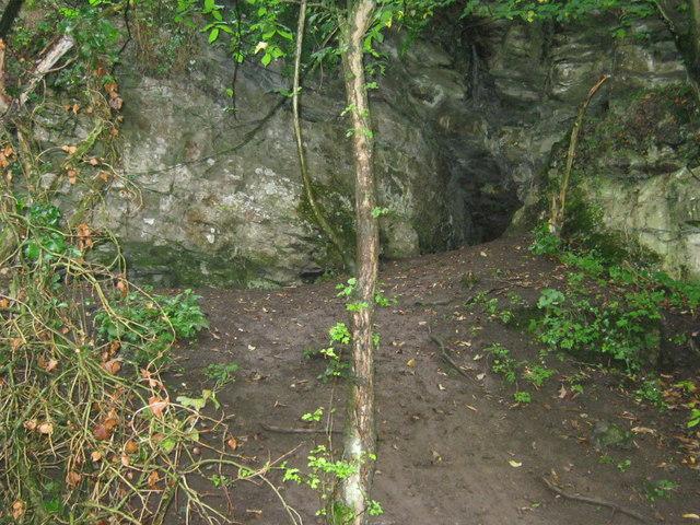 Cave in Limestone cliff in Bradford Dale