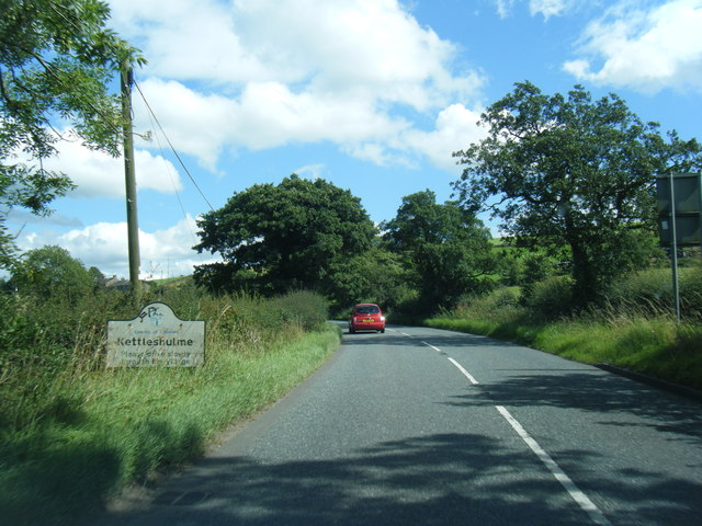 Kettleshulme village entrance sign on B5470