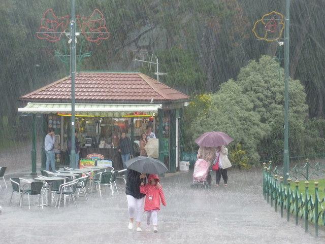 Bournemouth: heavy rain in the Lower Gardens