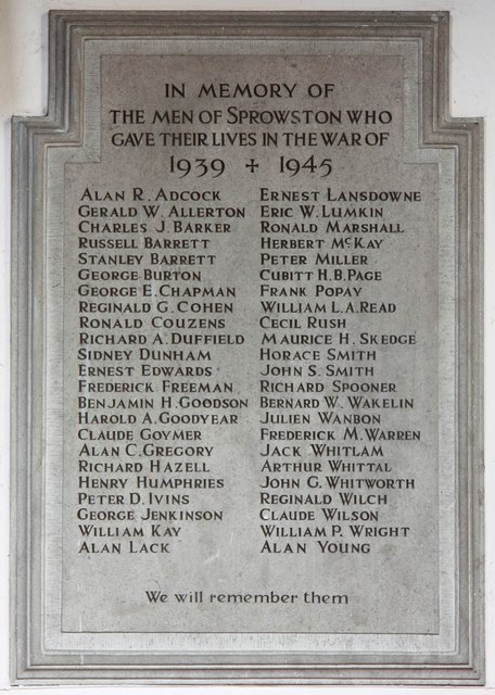 St Mary & St Margaret, Sprowston, Norwich - War Memorial WWII