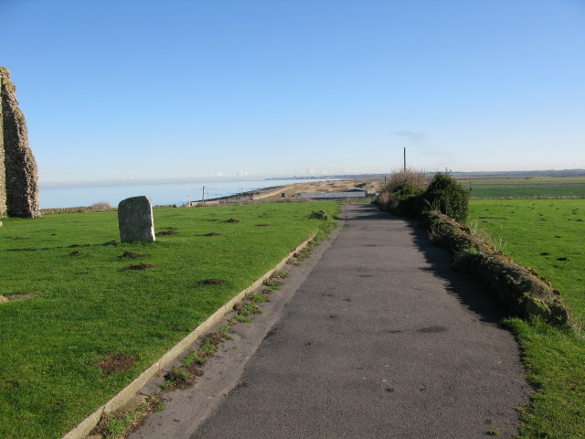 View along the Thanet Coastal Path beside St Mary's church