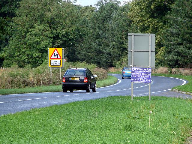 The A607 road at Denton