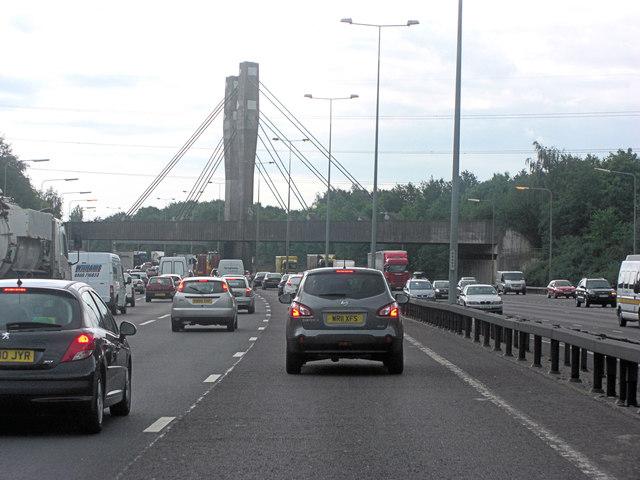 M25 crossed by railway bridge