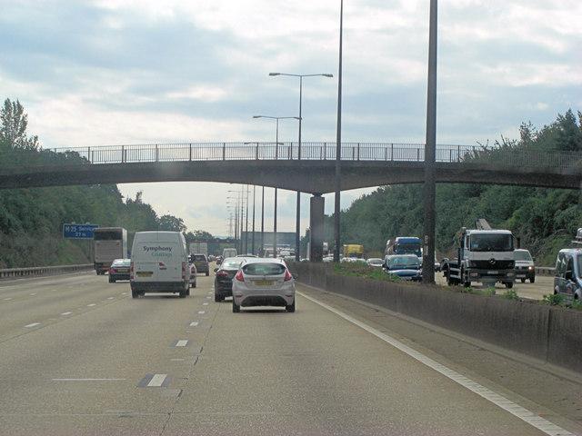 M25 footbridge from Liberty Lane