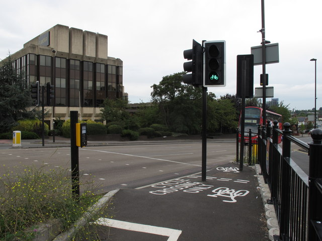 Traffic light green for cyclists only across Hanger Lane
